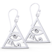 Eye of Horus Egyptian Luck Charm Dangling Hook Earrings in Oxidized .925 Sterling Silver - EYESER-036-SL
