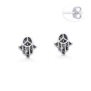Hamsa Hand Evil Eye Luck Charm Stud Earrings in Oxidized .925 Sterling Silver - EYESER-037-SL