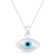 Evil Eye Charm Mother-of-Pearl & Enamel Pendant & Chain Necklace in .925 Sterling Silver - EYESP86-17X16MM-SLP