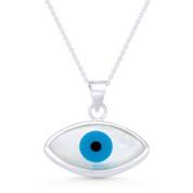 Evil Eye Charm Mother-of-Pearl & Enamel Pendant & Chain Necklace in .925 Sterling Silver - EYESP86-19X20MM-SLP