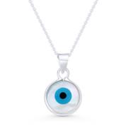 Evil Eye Charm Mother-of-Pearl & Enamel Pendant & Chain Necklace in .925 Sterling Silver - EYESP87-19X11MM-SLP