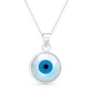 Evil Eye Charm Mother-of-Pearl & Enamel Pendant & Chain Necklace in .925 Sterling Silver - EYESP87-21X13MM-SLP