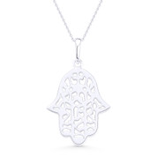 Hamsa Hand Evil Eye Charm Pendant & Chain Necklace in .925 Sterling Silver - EYESP94-SLP