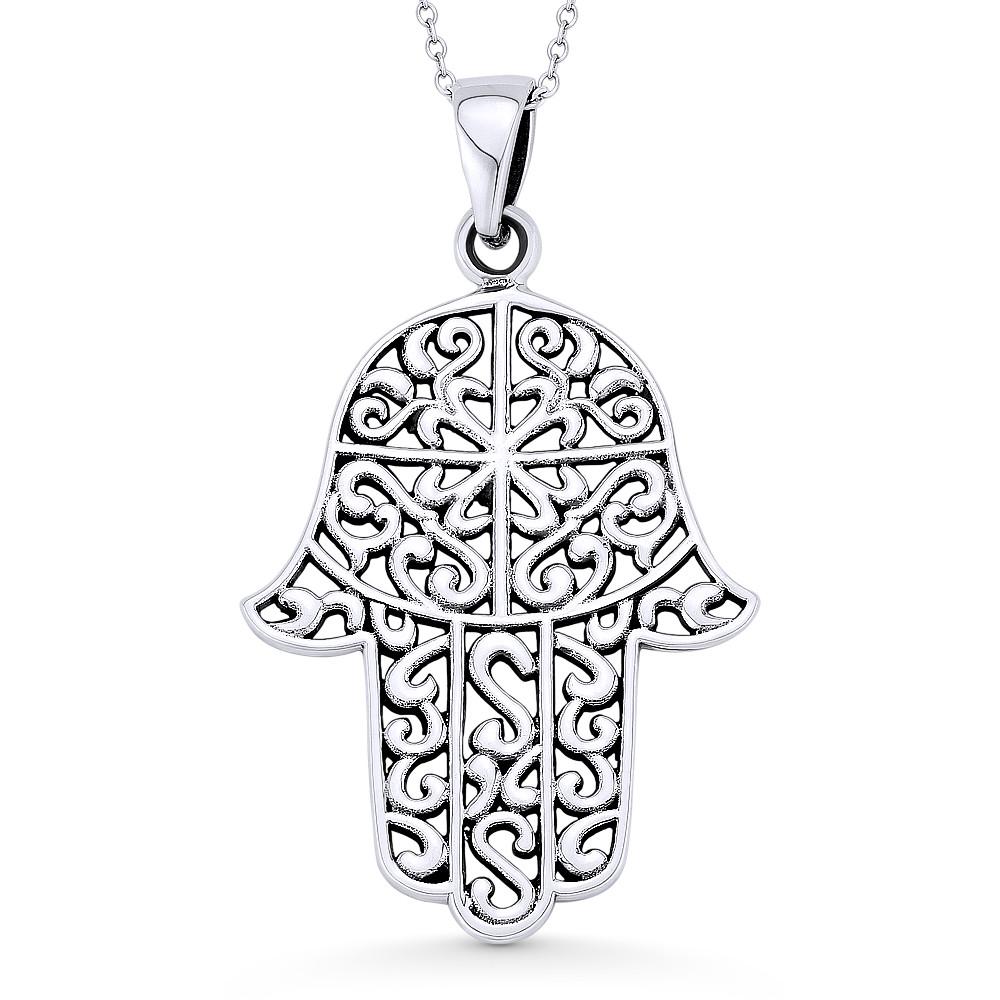Hamsa Hand Evil Eye Luck Charm .925 Sterling Silver CZ Crystal Necklace Pendant