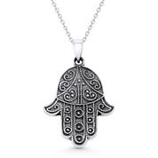 Hamsa Hand Evil Eye Charm Pendant & Chain Necklace in Oxidized .925 Sterling Silver - EYESP103-SLO