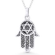 Hamsa Hand & Star of David Charm Evil Eye Pendant & Necklace in Oxidized .925 Sterling Silver - EYESP116-SLO
