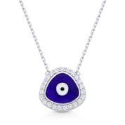 Evil Eye Enamel Charm & CZ Crystal 20mm Pendant & Chain Necklace in .925 Sterling Silver w/ Rhodium - EYESN74