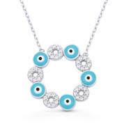 Evil Eye Enamel Charm & CZ Crystal 20mm Pendant & Chain Necklace in .925 Sterling Silver w/ Rhodium - EYESN72