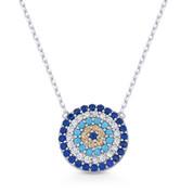 Evil Eye Charm Nano & CZ Crystal 13mm Pendant & Chain Necklace in .925 Sterling Silver w/ Rhodium - EYESN71-SL