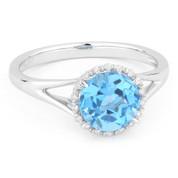 1.88ct Round Brilliant Cut Blue Topaz & Diamond Halo Promise Ring in 14k White Gold