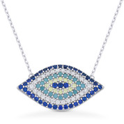 Evil Eye Charm Nano & CZ Crystal Pendant & Chain Necklace in .925 Sterling Silver w/ Rhodium - EYESN70-SL