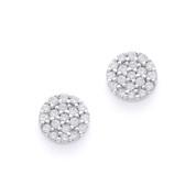 Cubic Zirconia CZ Crystal Circle Stud Earrings in .925 Sterling Silver w/ Rhodium - SGE-002-SL