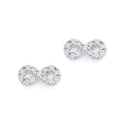 Cubic Zirconia Crystal Infinity Charm Stud Earrings in .925 Sterling Silver w/ Rhodium - SGE-003-SL