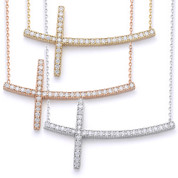 Curved Sideways CZ Crystal Christian Cross & Chain Necklace in .925 Sterling Silver - SGN-CR005-SL