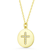 Cubic Zirconia Crystal Round Disc & Cross Charm Pendant in .925 Sterling Silver - SGN-CR007-DiaCZ-SL