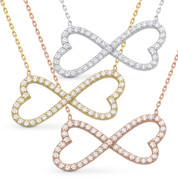 Double Heart Infinity Charm CZ Crystal Pendant & Chain Necklace in .925 Sterling Silver - SGN-FN017-SL