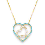 Double-Heart Charm Nano Crystal & CZ Pendant & Chain Necklace in .925 Sterling Silver - SGN-FN025-SL