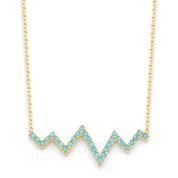 Heartbeat Zigzag Nano Crystal Charm Pendant & Chain Necklace in .925 Sterling Silver - SGN-FN026-SL