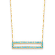 Open Rectangle Nano Crystal Pendant & Chain Necklace in .925 Sterling Silver - SGN-FN027-SL