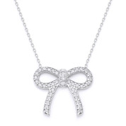 Bow-Knotted Ribbon CZ Crystal Charm Pendant & Chain Necklace in .925 Sterling Silver - SGN-FN036-SL