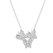 Triple-Butterfly CZ Charm Pendant & Chain Necklace in .925 Sterling Silver - SGN-FN038-SL