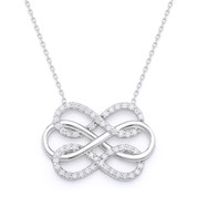 Triple-Infinity CZ Crystal Charm Pendant & Chain Necklace in .925 Sterling Silver - SGN-FN042-SL