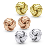 Love-Knot Fashion Stud Earrings with Push-Back Posts in .925 Sterling Silver - ES020-7MM-SL