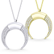 Reverse Horn CZ Crystal Charm Pendant & Chain Necklace in .925 Sterling Silver - SGN-FN050-DiaCZ-SL