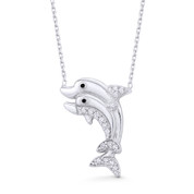 Mother & Baby Dolphin Charm Cubic Zirconia Crystal Pendant & Chain Necklace in .925 Sterling Silver - SGN-FN053-DiaOxCZ-SL