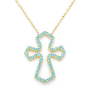 Nano Crystal Medieval Cross Pendant & Chain Necklace in .925 Sterling Silver - SGN-CR006-SL