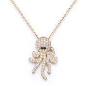 Octopus Charm CZ Crystal Pendant & Chain Necklace in .925 Sterling Silver - SGN-FN040-SL