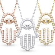 Hamsa Hand Evil Eye Charm CZ Crystal Pendant & Chain Necklace in .925 Sterling Silver - HHN-006-SL