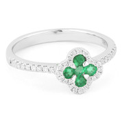 0.42ct Emerald & Diamond Pave Right-Hand Flower Ring in 14k White Gold