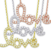 """Love"" Pendant & Chain Necklace w/ CZ Crystals in .925 Sterling Silver - Medium Size - NLH-004-SL"