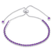 2.8mm Faux Amethyst Purple CZ Crystal Bolo Style Slide-Clasp Tennis Bracelet in .925 Sterling Silver - TB006-2.8MM-1L-AmeCZ-SL