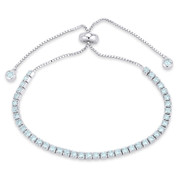 2.8mm Faux Aquamarine Blue CZ Crystal Bolo Style Slide-Clasp Tennis Bracelet in .925 Sterling Silver - TB006-2.8MM-1L-AqmCZ-SL
