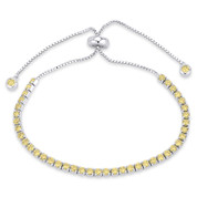 2.8mm Faux Citrine Yellow CZ Crystal Bolo Style Slide-Clasp Tennis Bracelet in .925 Sterling Silver - TB006-2.8MM-1L-CitCZ-SL