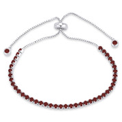 2.8mm Faux Garnet Red CZ Crystal Bolo Style Slide-Clasp Tennis Bracelet in .925 Sterling Silver - TB006-2.8MM-1L-GarCZ-SL