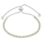 2.8mm Faux Peridot Green CZ Crystal Bolo Style Slide-Clasp Tennis Bracelet in .925 Sterling Silver - TB006-2.8MM-1L-PerCZ-SL
