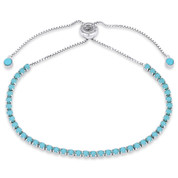 2.8mm Blue Nano CZ Crystal Faux Turquoise Bolo Style Slide-Clasp Tennis Bracelet in .925 Sterling Silver - TB006-2.8MM-1L-TqCZ-SL