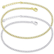 2.67ct tw 2.3mm Cubic Zirconia Crystal Tennis Anklet in .925 Sterling Silver - TA001-2.3MM-1L-DiaCZ-SL