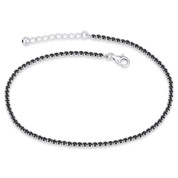 2.67ct tw 2.3mm Black Cubic Zirconia Crystal Tennis Anklet in .925 Sterling Silver - TA001-2.3MM-1L-OnyxCZ-SL