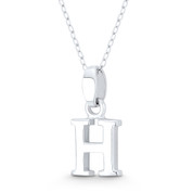 "Initial Letter ""H"" 20x10x3mm (0.8in x 0.4in x 0.12in) Charm 3D Pendant in .925 Sterling Silver - ST-IP002-H-SLP"