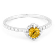 0.30ct Round Brilliant Cut Citrine & Diamond Halo Promise Ring in 14k White Gold