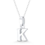 """Initial Letter """"K"""" 20x9x3mm (0.8in x 0.35in x 0.12in) Charm 3D Pendant in .925 Sterling Silver - ST-IP002-K-SLP"""
