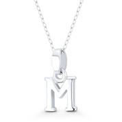 "Initial Letter ""M"" 20x10x3mm (0.8in x 0.4in x 0.12in) Charm 3D Pendant in .925 Sterling Silver - ST-IP002-M-SLP"