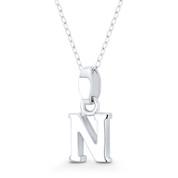 """Initial Letter """"N"""" 20x9x3mm (0.8in x 0.35in x 0.12in) Charm 3D Pendant in .925 Sterling Silver - ST-IP002-N-SLP"""