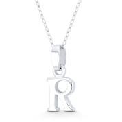 "Initial Letter ""R"" 20x8x3mm (0.8in x 0.3in x 0.12in) Charm 3D Pendant in .925 Sterling Silver - ST-IP002-R-SLP"