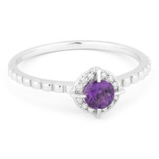 0.30ct Round Brilliant Cut Amethyst & Diamond Halo Promise Ring in 14k White Gold