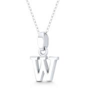 "Initial Letter ""W"" 20x12mm (0.8x0.5in) Charm 3D Pendant in .925 Sterling Silver - ST-IP002-W-SLP"